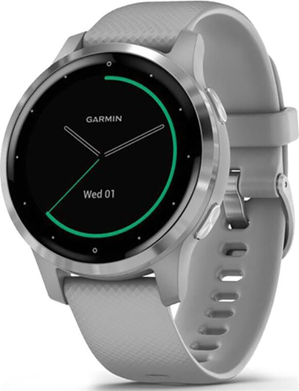 "Умные часы Garmin Vivoactive 4S Powder Gray with Silver (010-02172-03); 1.1"" (218x218) TFT / Bluetooth / Wi-Fi, GPS, GLONASS / до 7 дней / 5 ATM / 40 х 40 х 12.7 мм, 40 г / серый в Україні"
